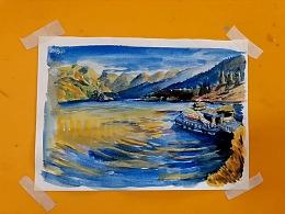 水彩画早晨的湖泊-小尤说画