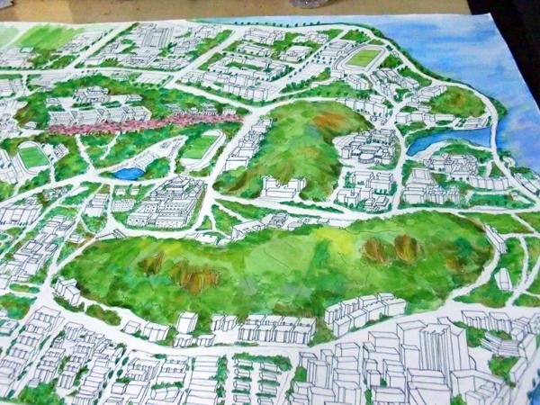 原创作品:武汉大学手绘地图