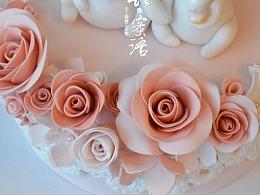 情侣兔手工翻糖蛋糕