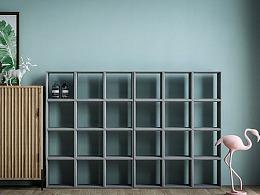 觉一FONE/水泥书柜混凝土置物收纳多功能创意ins组合柜