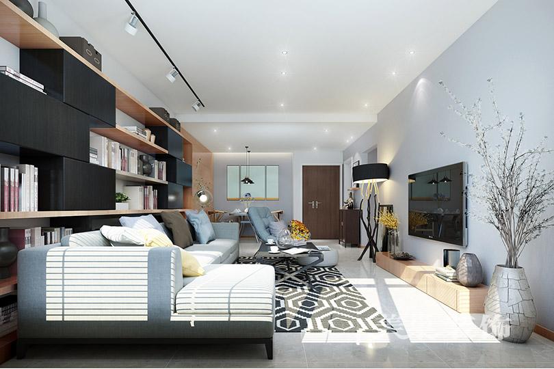 翰林华庭装修效果图110平三室两厅北欧混搭设计方案---客厅
