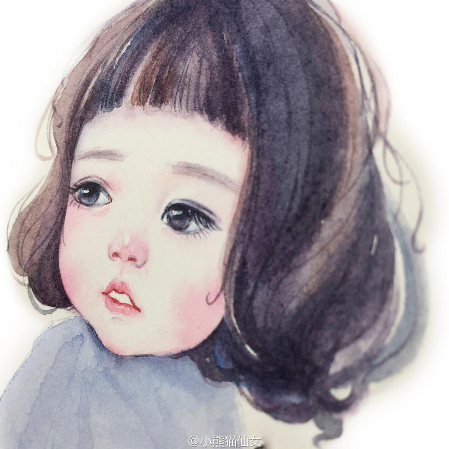 【小熊猫】水彩手绘人物水彩教程小萝莉头像|绘画