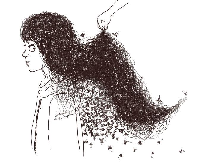 """某同事撩起了我长长的头发,我说了一句,""""再撩苍蝇都要飞出来了!图片"""