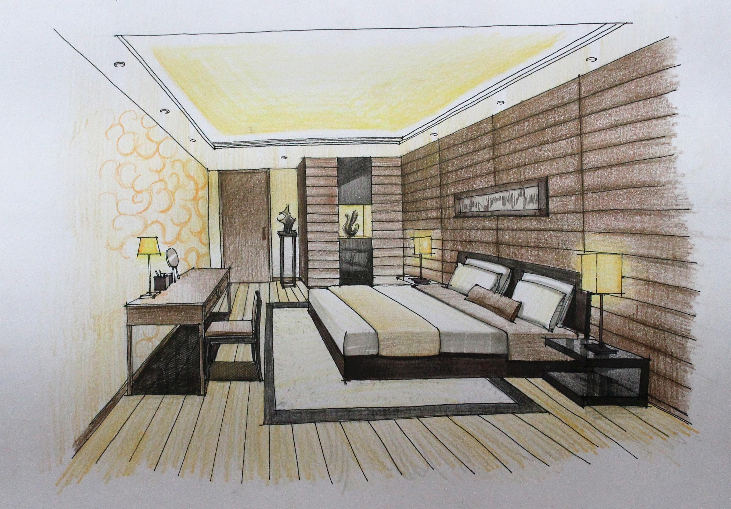 卧室手绘效果图|空间|室内设计|翁小峰 - 原创作品
