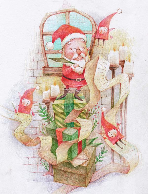 彩铅 圣诞