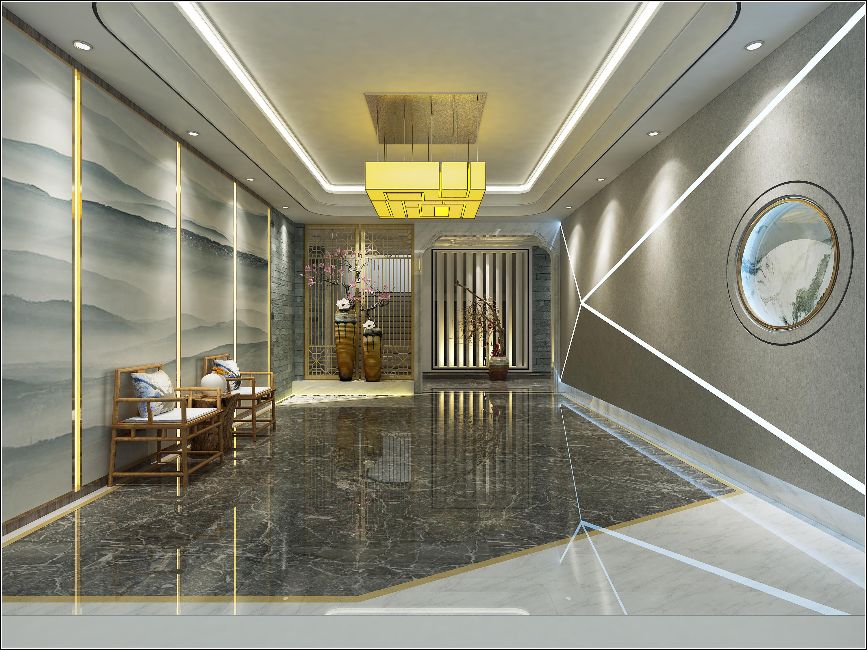 新中式 办公大堂 过廊|空间|室内设计|chenhuan199423图片