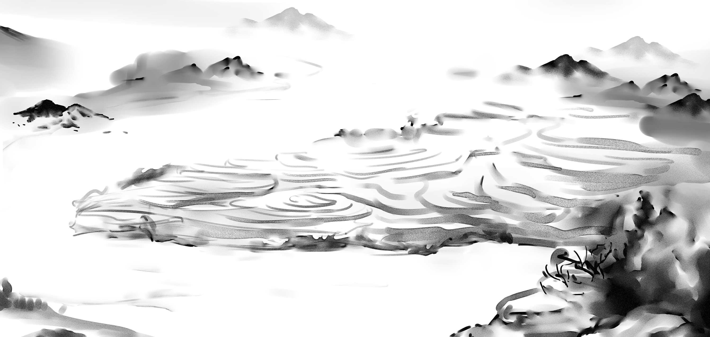 国画山水手绘稿