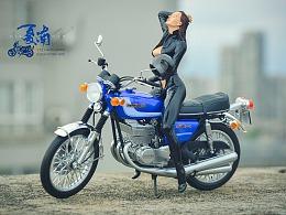 长谷川 1:12 铃木GT380摩托模型
