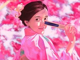 《紫红色系少女》