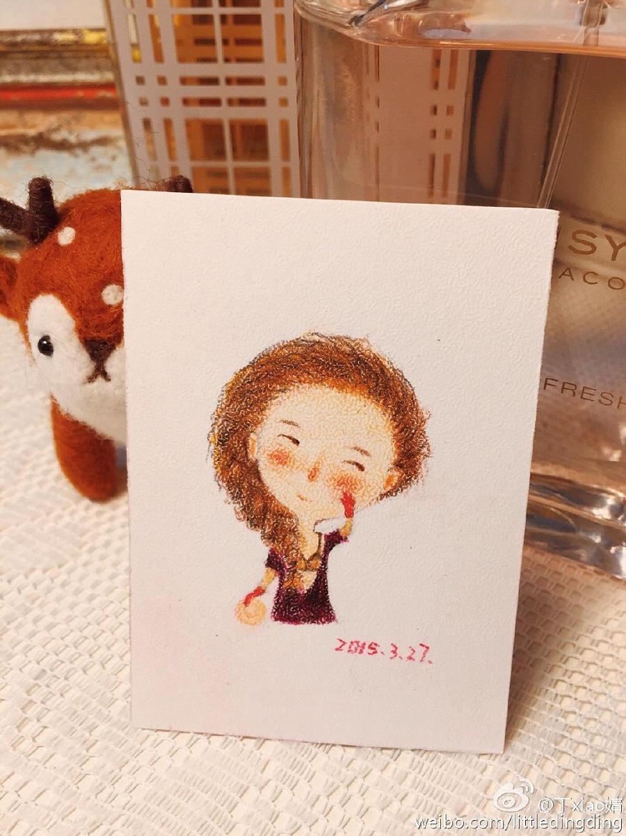 手绘彩铅小人物系列插画16|绘画习作|插画|丁小婧