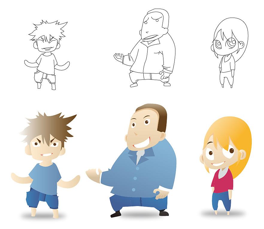 小小卡通人物 线描稿图片