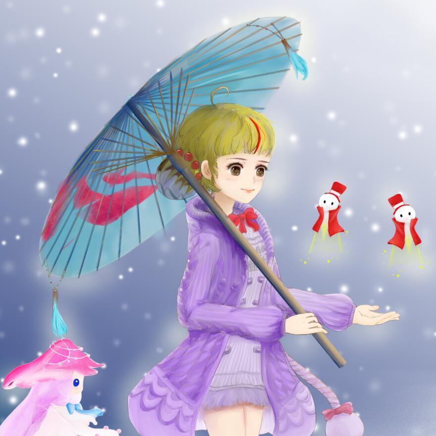 日韩插画-天谕同人-灵珑-雪下拿伞的女孩