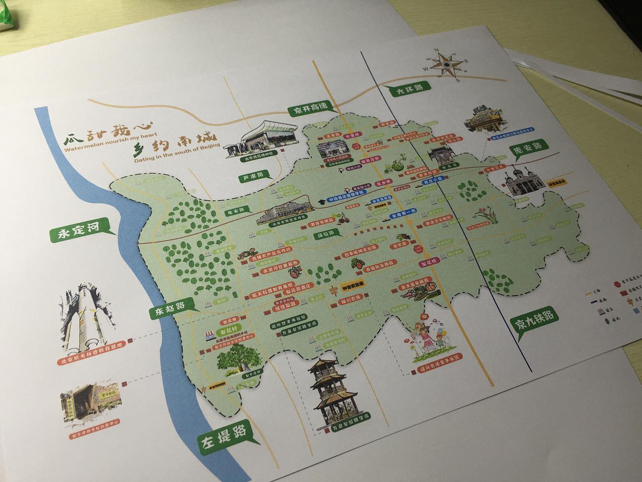 北京西瓜之乡手绘地图