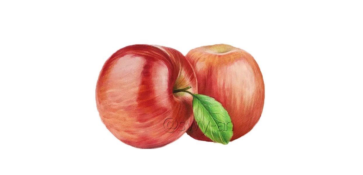 苹果彩铅手绘