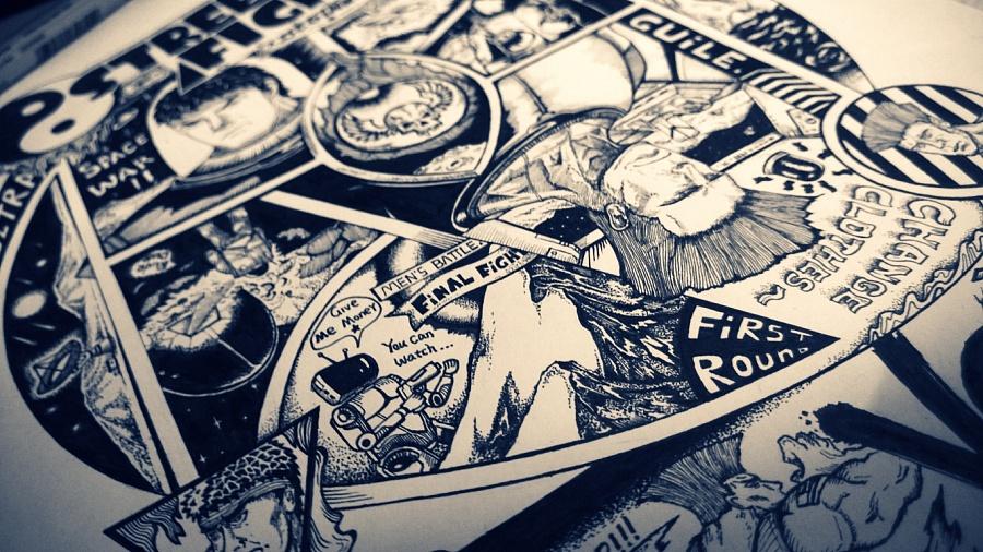 为街霸4画的黑白手绘复古海报