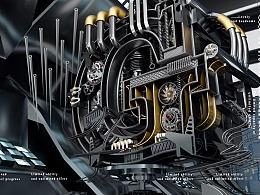 C4D金属机械文字