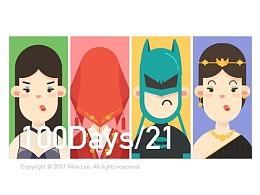 每日一图(21/100)- Nina Lee的插画头像