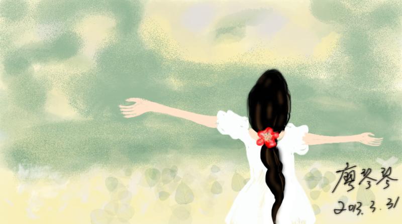 手绘插画-仰望蓝天的女孩|绘画习作|插画|imaxxf