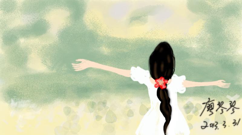 手绘插画-仰望蓝天的女孩