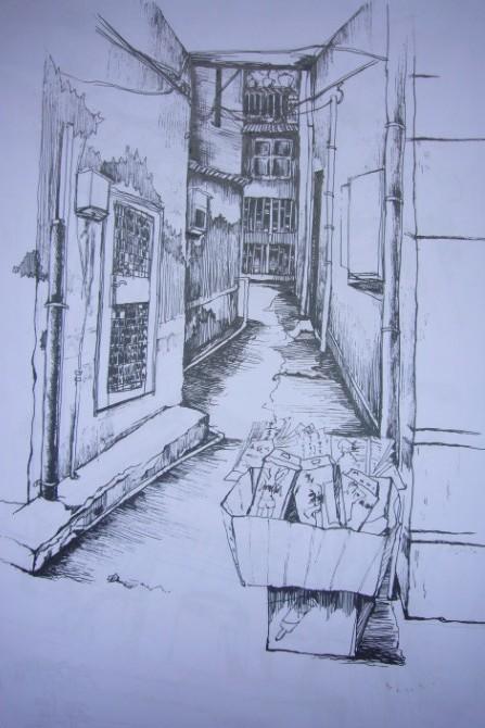 黑白老街图手绘