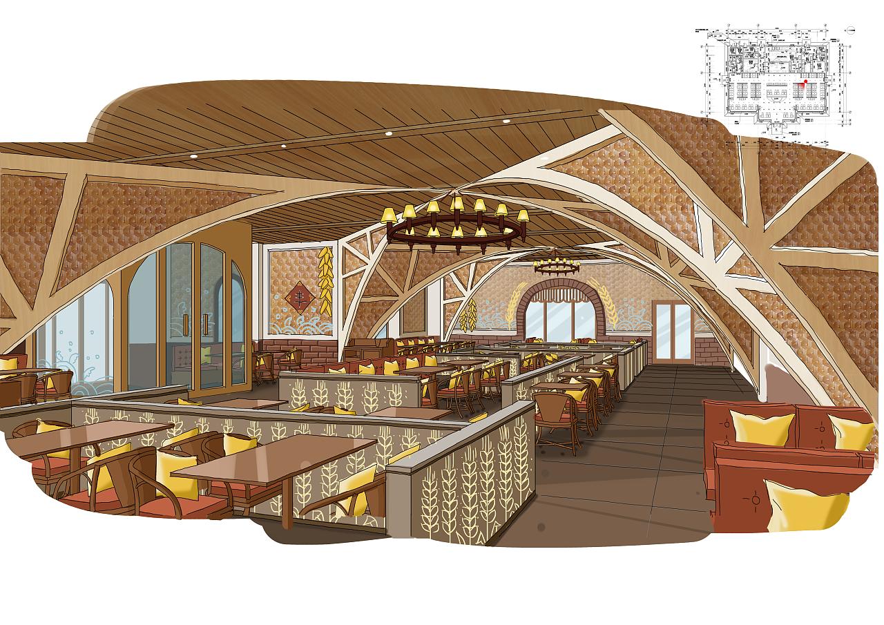 餐厅手绘练习|空间|室内设计|月bing - 原创作品