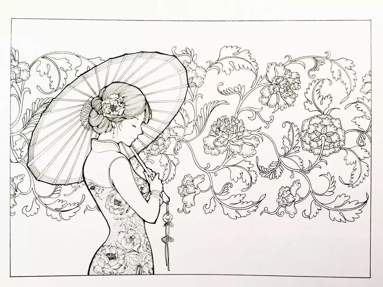 古风手绘旗袍高清大图