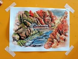 水彩画开往秋天的列车