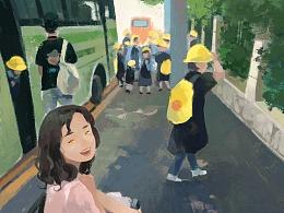 插画-小学生的郊游巴士