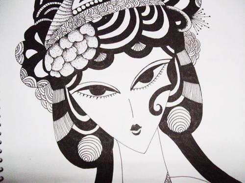 水笔画的黑白画(喜欢)|绘画习作|插画|阿不e图片