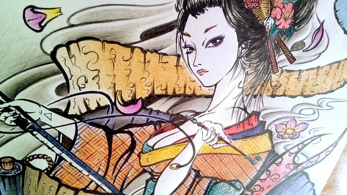 纹身手稿设计——艺伎
