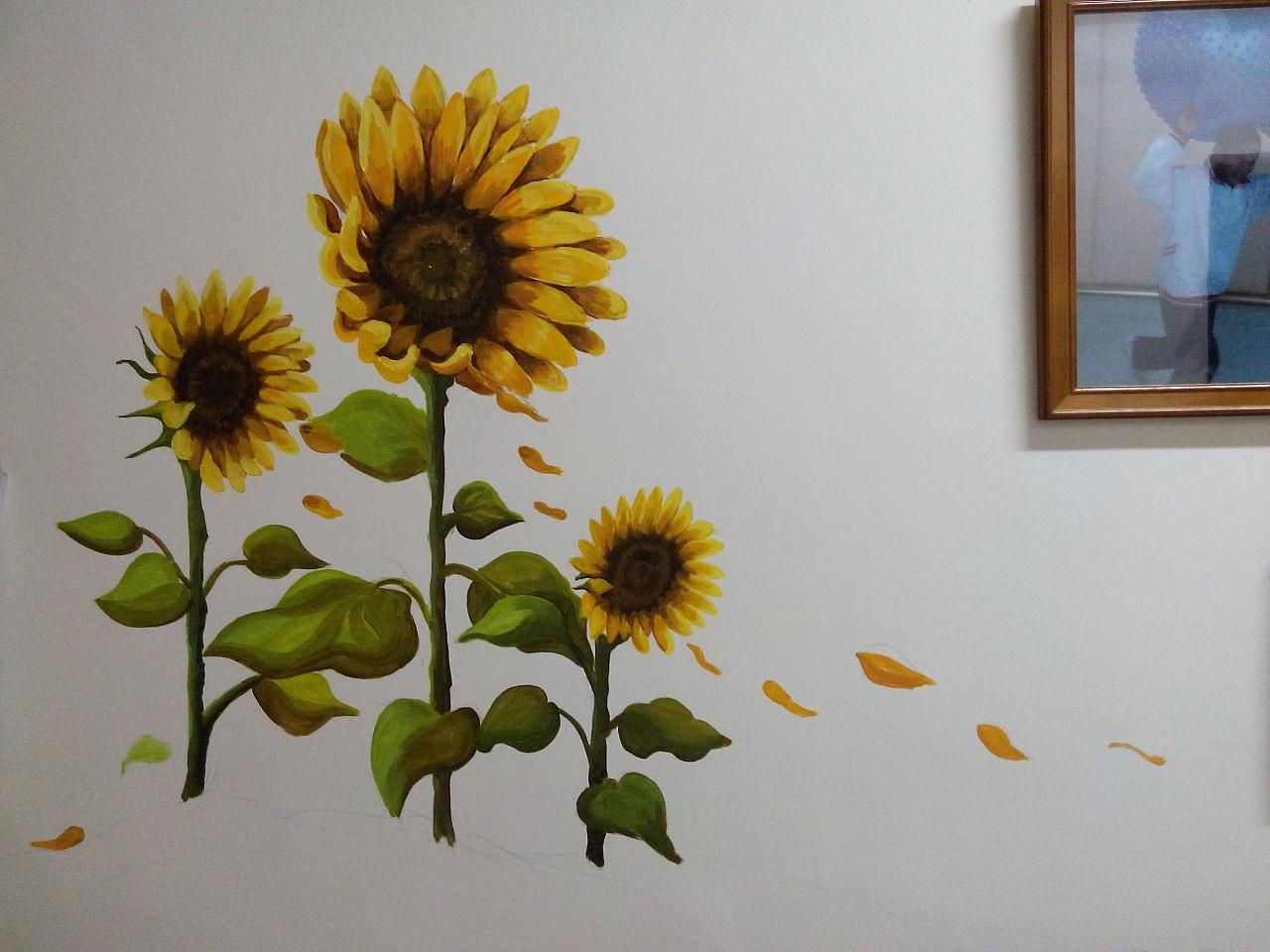 """手绘墙之""""向日葵"""""""