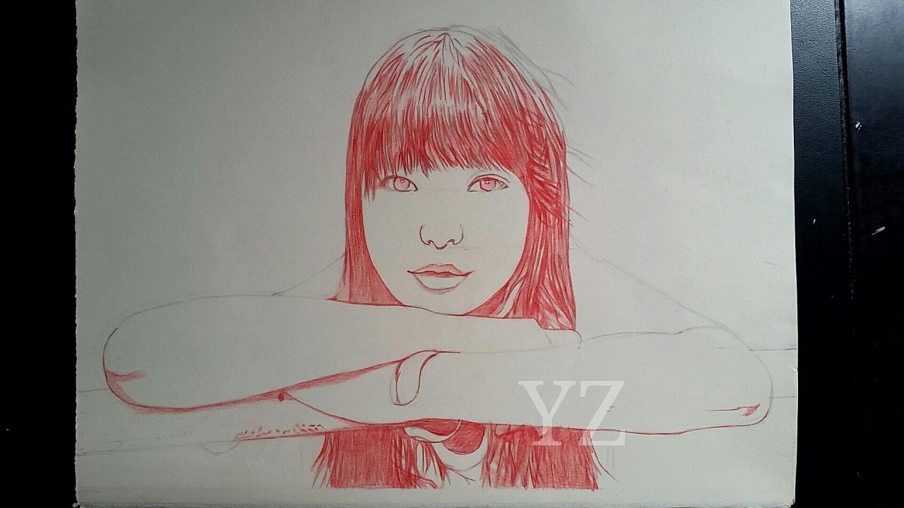 彩铅手绘画作《小雨》材料:48色红盒