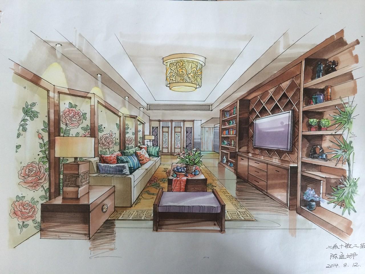 手绘室内效果图|空间|室内设计|陈孟娜336699 - 原创