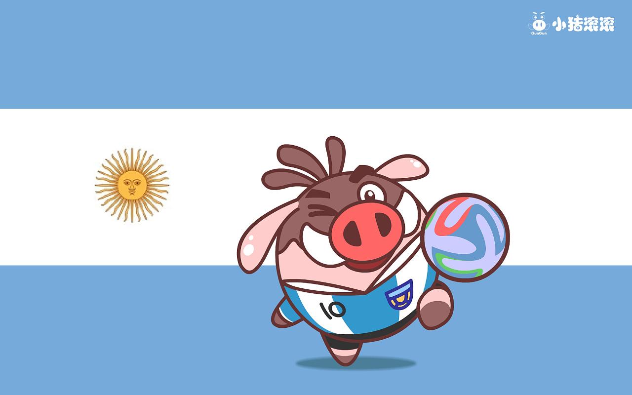 小猪滚滚 世界杯壁纸