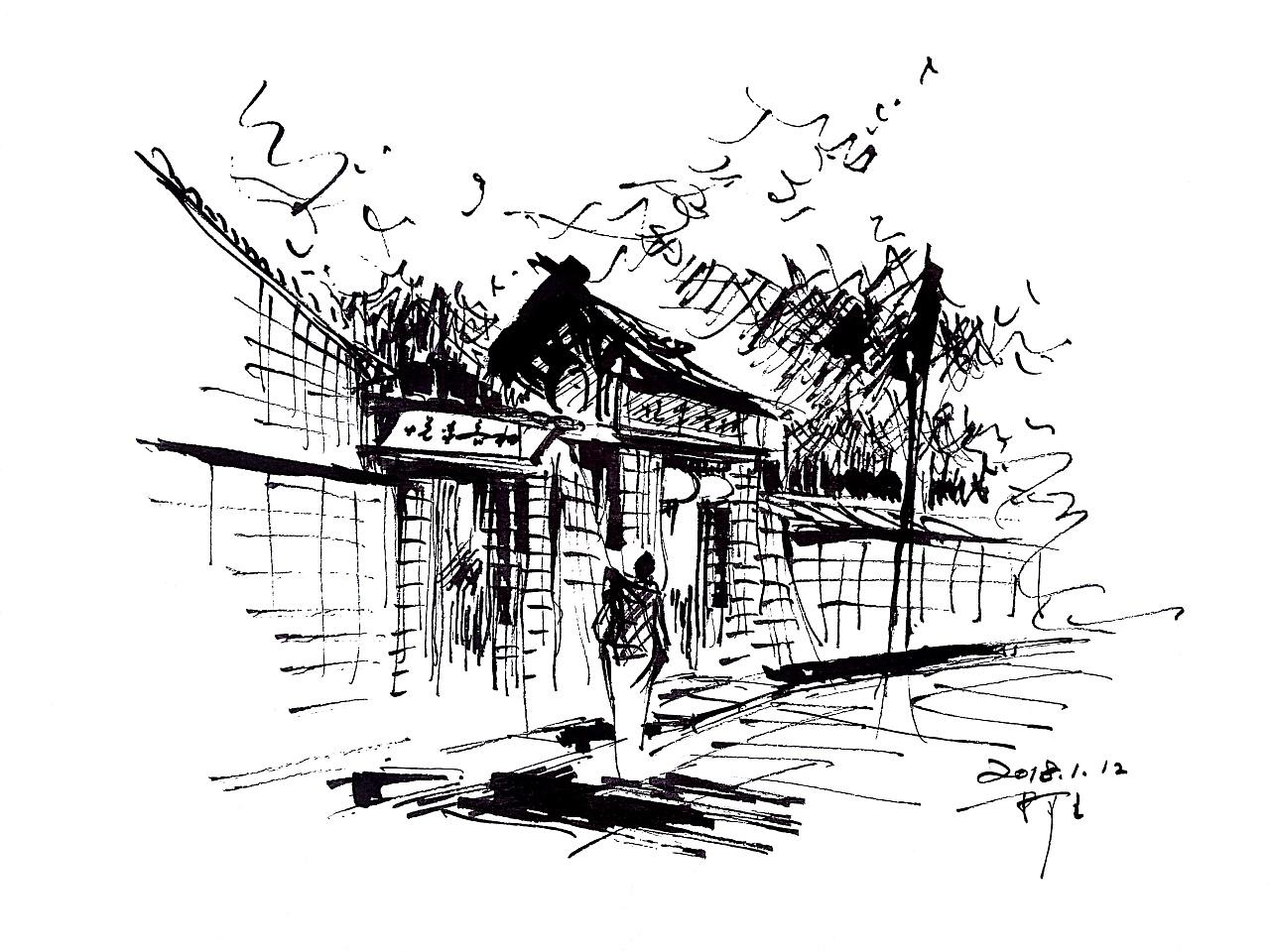 速写阿王风景建筑速写钢笔画
