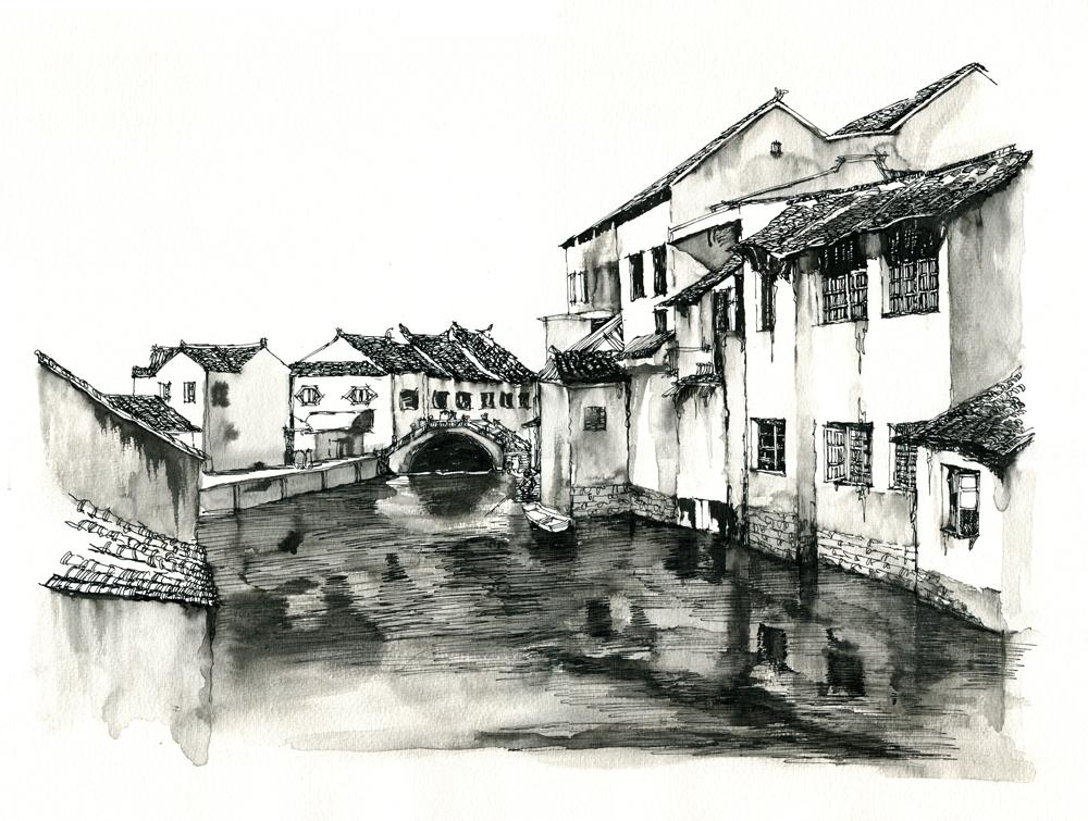 同里古镇手绘画