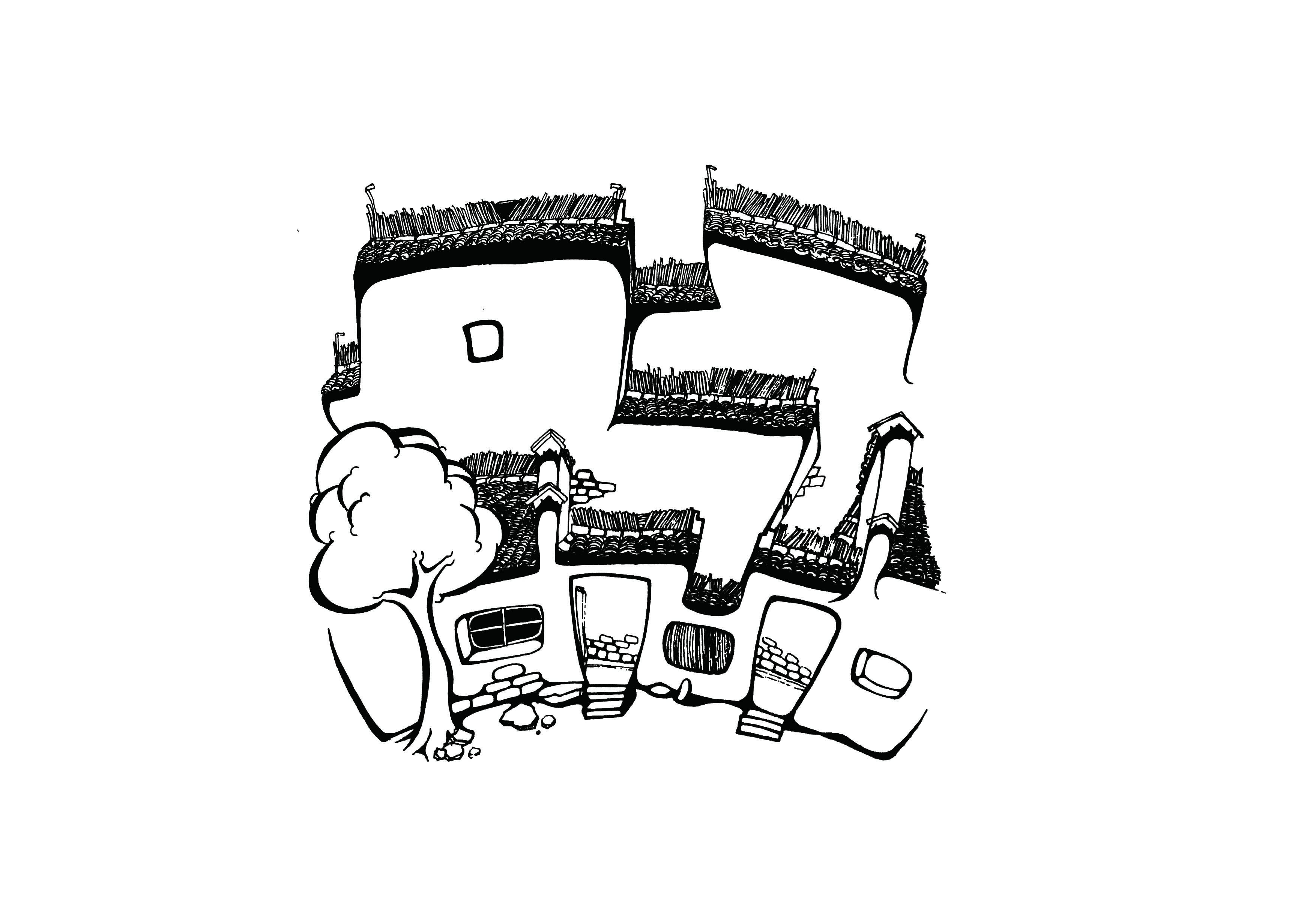 黑白手绘插画宏村