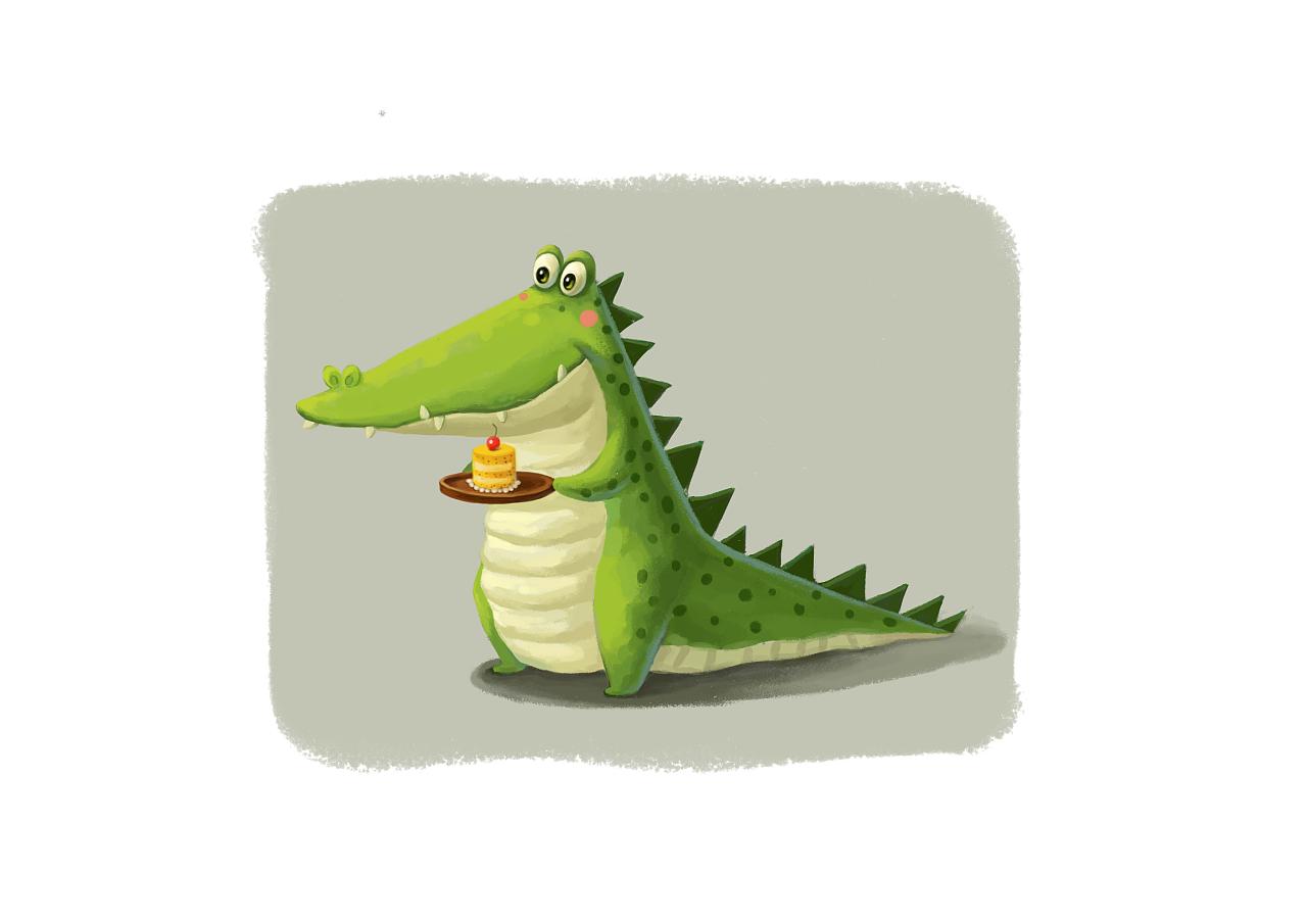 小鳄鱼平面手绘临摹练习|平面|其他平面|花然然