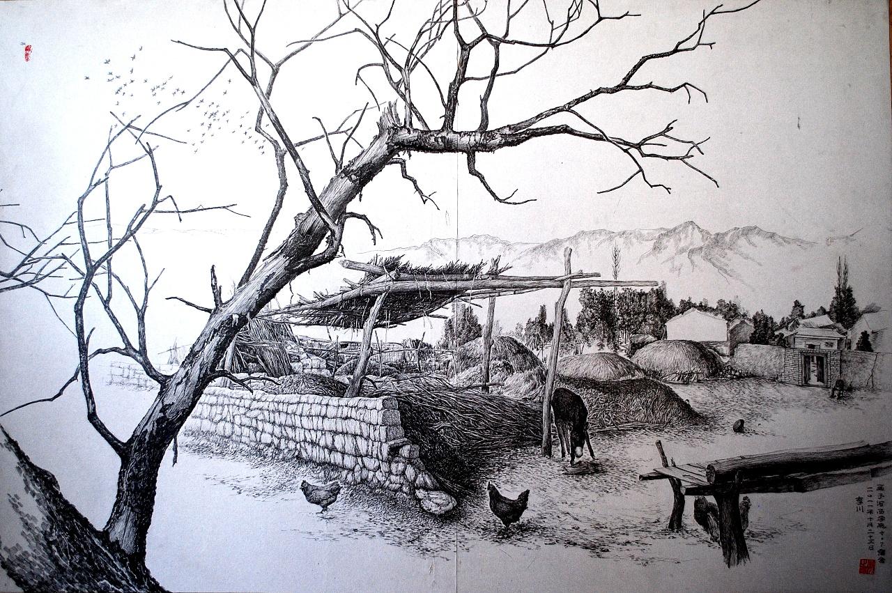 桃花手绘插画黑白