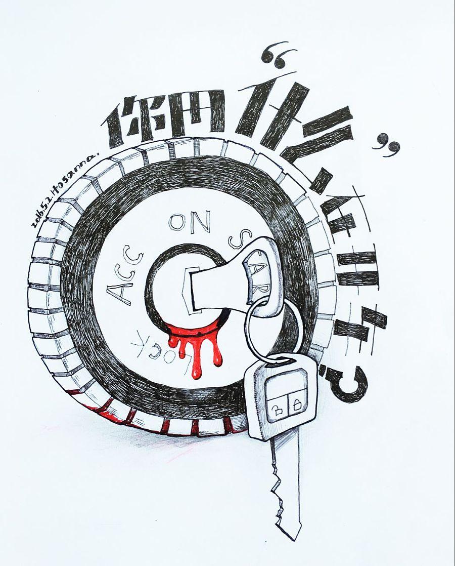 手绘黑白创意线描|涂鸦/潮流|插画|小语娜娜