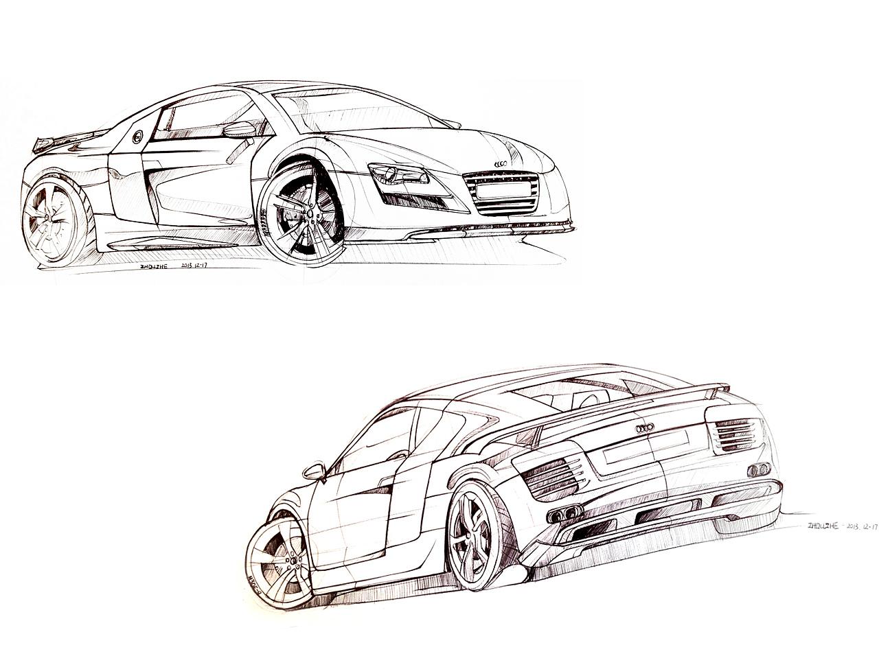 汽车手绘线稿|工业/产品|交通工具|周小者 - 原创作品