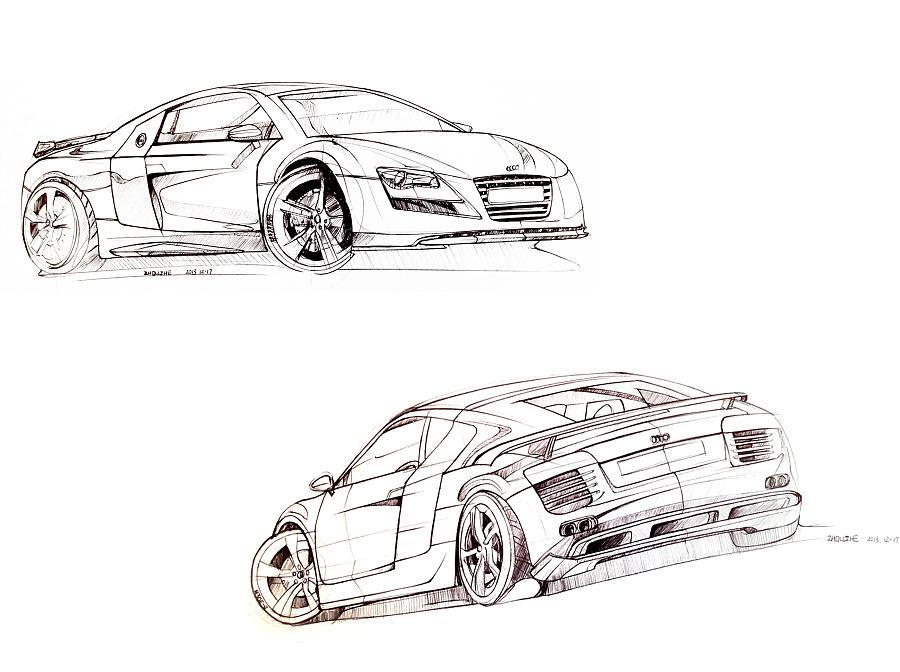 汽车手绘线稿|交通工具|工业/产品|周小者