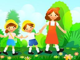绿色清新快乐散步老师儿童假期矢量插图