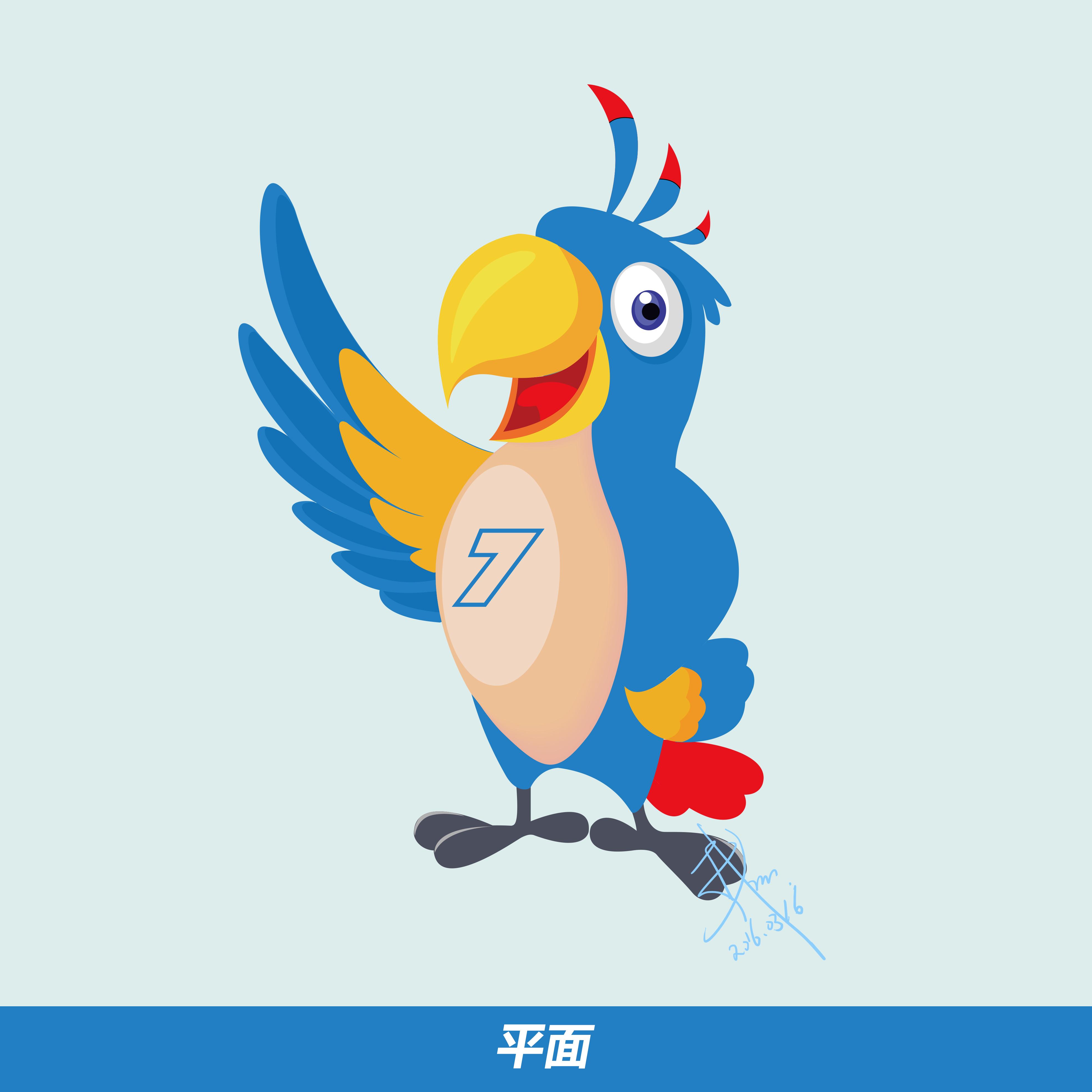手绘鹦鹉(小七)吉祥物 ai logo 字体设计