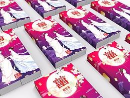 喜庆筷子包装 餐具外包装 筷子插画包装 节日礼品包装