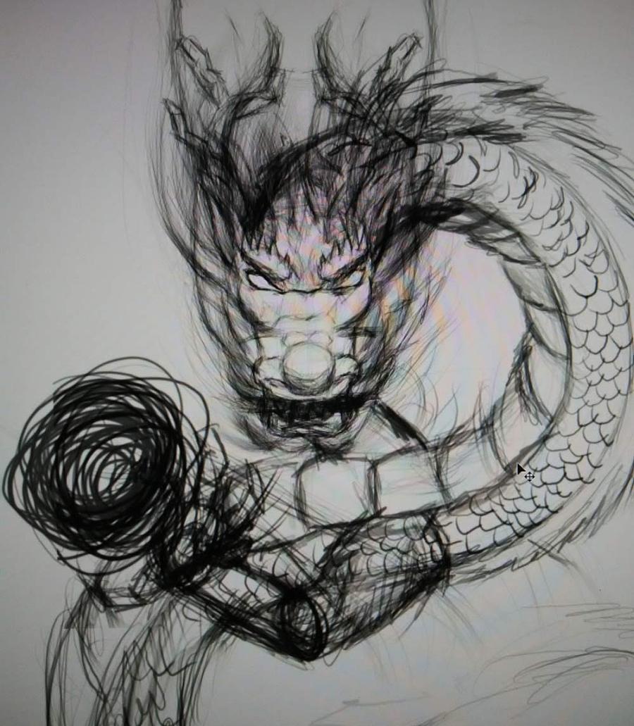 龙的素描图片简单画法图片
