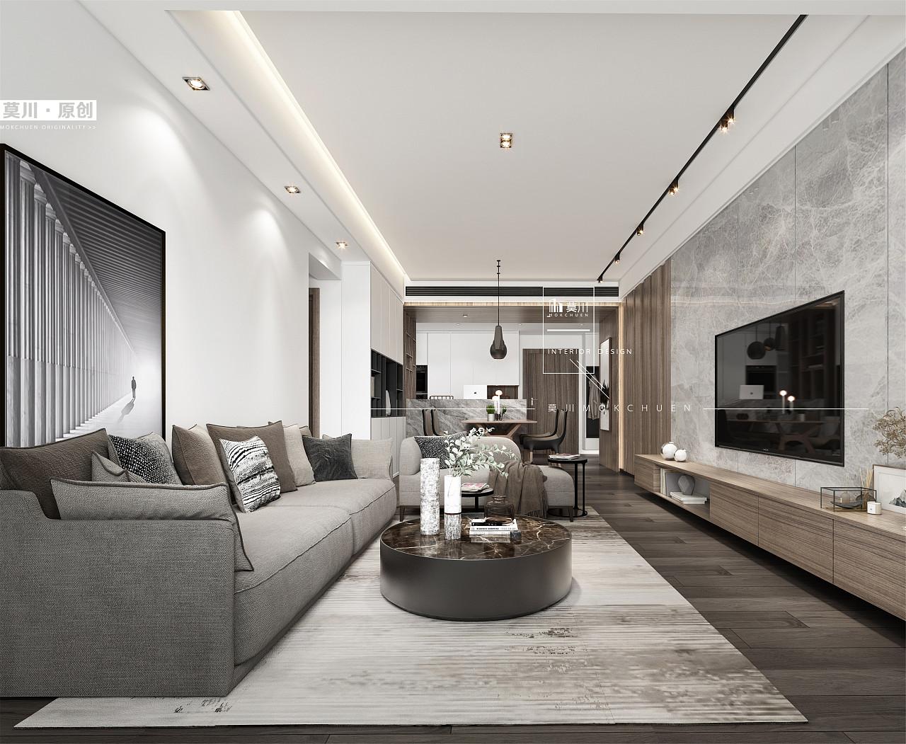 客厅背景墙采用灰色大理石与木饰面碰撞做延伸,巧妙地连接主卧暗藏门