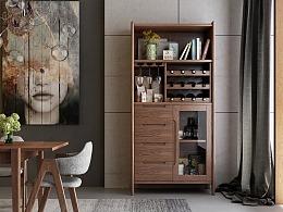 实木酒柜设计,北欧实木家居设计,家具3D效果设计