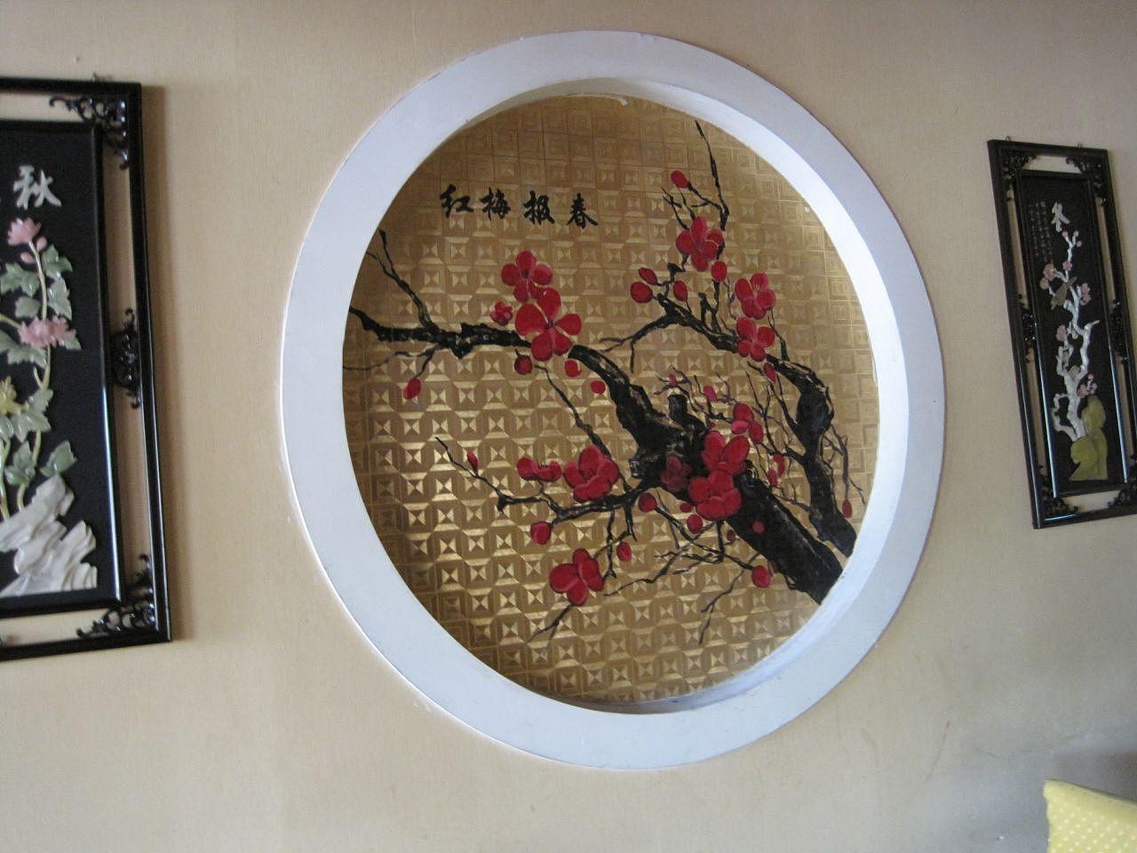 中式餐馆手绘背景墙|插画|商业插画|白头鹰 - 原创
