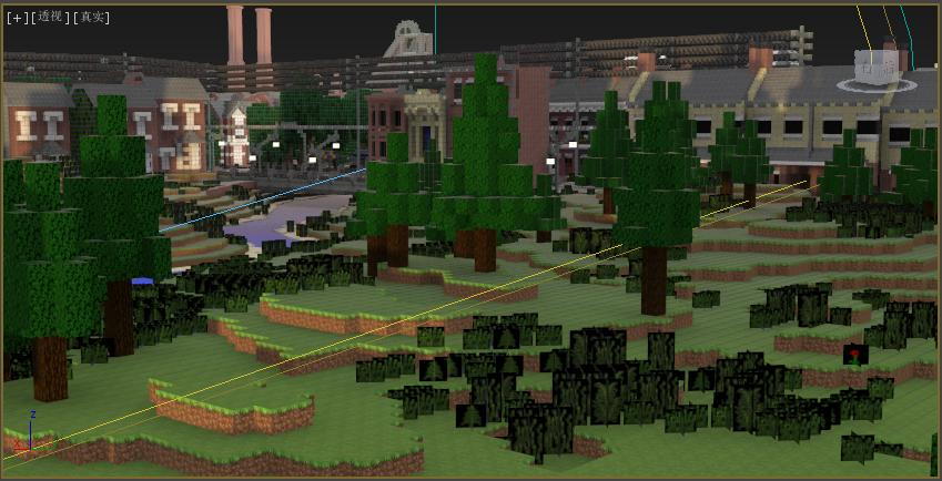 在3d max下试着渲染mc地图,为之后的动画